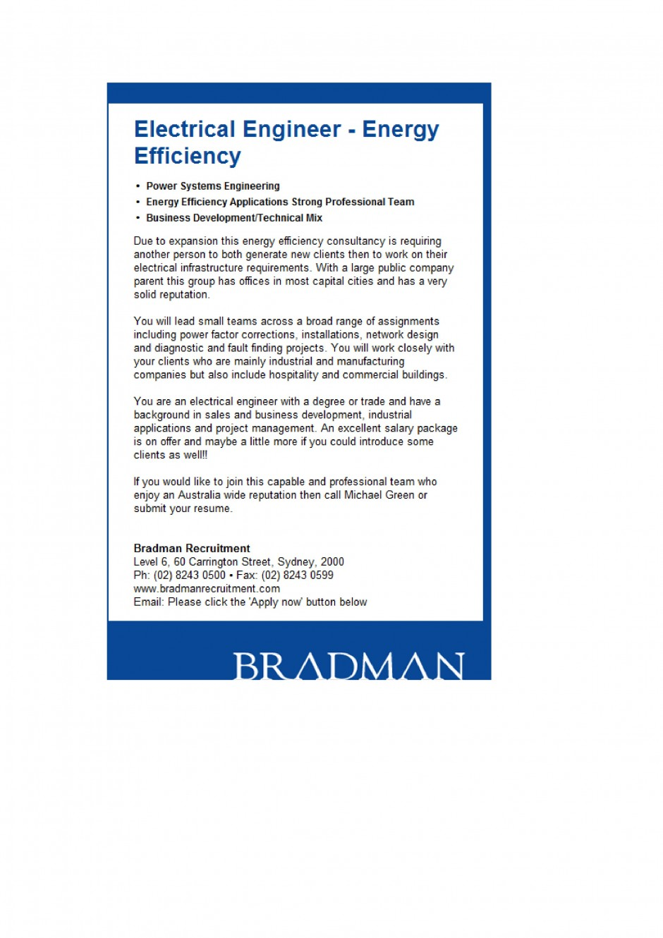 recent assignments bradman recruitment group electrical engineer